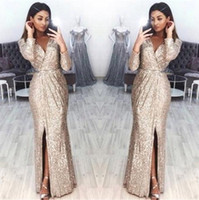 Wholesale sparkled dresses for sale - Group buy Sparkling Long Sleeves Sequins Evening Dresses V Neck Pleats High Split Floor Length Formal Party Prom Gowns BC0815