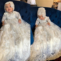 Wholesale baby girl bonnet flowers for sale - Long Sleeve Toddler Flower Girl Dress Christening Gowns For Baby Lace Appliqued Pearls Baptism Dresses With Bonnet First Communication Dress