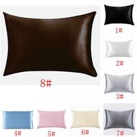 Wholesale envelope pillowcase resale online - 20 inch Silk Satin Pillowcase Home Multicolor Ice Silk Pillow Case Zipper Pillow Cover Double Face Envelope Bedding Pillow Cover Min