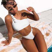 banyo kayışı toptan satış-RUUHEE Bikini 2019 Mayo Kadınlar Mayo Tek Omuz Ayarlanabilir Askı Mayo Kadınlar Bikini Set Beachwear Biquini Şınav