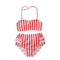maillot de bain enfant rouge achat en gros de-Summer Beachwear Bébés Filles Maillot de bain à rayures blanches et rouges 2019 Mode été enfants Bikinis Maillot de bain enfants