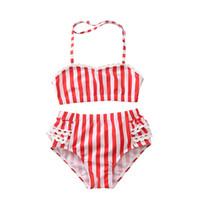 ingrosso swimwear rosso della neonata-Summer Beachwear Neonate Costume da bagno con stampa striscia rossa bianca 2019 estate moda bambini Costume da bagno per bambini Bikini