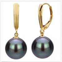 ingrosso orecchini di perle neri 14k-12mm Black South Sea Shell Perla perline rotonde 14K GP gancio ciondola gli orecchini AAA +