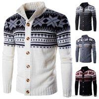 tops de punto de manga larga al por mayor-Mens nueva Navidad Cardigan suéteres de punto de nieve Impreso Pullover Ropa Hombre Slim Fit Tops suéter manga larga Coats