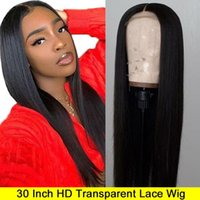 Wholesale full french lace remy wig for sale - Group buy 30 Inch Wig Malaysian Straight Lace Front Wig Pre Plucked Hd Lace lemoda x4 Remy Human Hair Hd Transparent Lace Wig