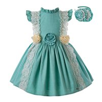 цветок девушка платья мята оптовых-Pettigirl лето мятно-зеленое платье принцессы платье девушки цветка детская одежда с головные уборы детская одежда G-DMGD201-C139