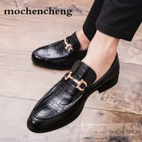 Wholesale business casual brown shoes for sale - Group buy 2019 Men Formal Business Brogue Shoes Luxury Men s Crocodile Dress Shoes Male Casual Genuine Leather Wedding Party Loafers