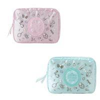 bolso de color perla al por mayor-Bolso cosmético cuadrado Satén Color sólido Bolso a prueba de polvo Versión coreana japonesa Impresión con cremallera Pequeña perla fresca
