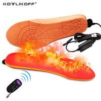 isıtmalı taban astarı ısıtma toptan satış-Elektrikli Isıtmalı Astarı batt USB Kış Ayakkabı Çizme Pedi Uzaktan Kumanda Ile Turuncu Köpük Malzeme bellek köpük ısıtmalı tabanlık