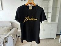 kadınlar için siyah yaz tişörtü toptan satış-Balmain T-Shirt Yaz Düz Moda Siyah Beyaz Motosiklet Erkek Kadın Tees Pamuk Kahraman Adam Ucuz Giyim