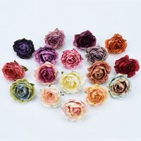 Wholesale floor vase lighting for sale - Group buy 10pcs High quality Silk Retro roses head vases for home decor fake floristics artificial flowers wedding wall diy gifts bride