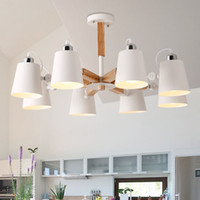 ingrosso lampade in legno-Plafoniere di legno moderne variopinte di modo Lamparas Luci di design minimalista Lampade di sala da pranzo luci sala da pranzo