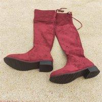 sobre joelho botas longas mulheres venda por atacado-as sapatas das mulheres de inverno mulheres botas sobre o joelho Longo Cor Antiderrapante botas da mulher