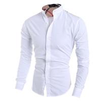 uzun siyah gömlek elbisesi toptan satış-Yaz Erkekler Gömlek Erkek Uzun Kollu Gömlek Casual Hit Renk Slim Fit Siyah Adam Elbise Gömlek