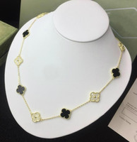 Wholesale vintage sterling chain resale online - Designer Vintage Alhambra Jewelry sterling silver Black Onyx Red Onyx White Fritillary Malachite Diamonds women wedding Necklace