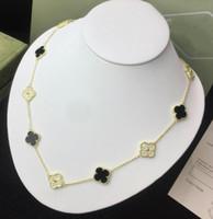 siyah elmas kolye kadın toptan satış-Tasarımcı Vintage Alhambra Takı 925 ayar gümüş Siyah Oniks / Kırmızı Oniks / Beyaz Fritillary / Malakit Diamonds kadınlar düğün Kolye