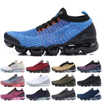 Wholesale women brand low shoes for sale - 2019 Top Fly Men Women Running Shoes Triple Black White Blue Knit Brand New s Jogging Sneakers Designer Sport Shoes