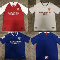 trikot blau 19 großhandel-NEUE 19 20 Sevilla fc blau Fußball Jersey Maillots de Fußball 2019 2020 weiß nach Hause entfernt dritten Fußball Trikot T-Shirt