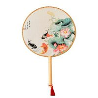 Wholesale hand fan silk bamboo for sale - Group buy Bamboo Silk Handle Round Hand Fan with Tassels Pendant Classic Palace Paddle Party Gift Wedding Favors Court Dance Supplies ZZA1365