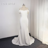 Simple Satin Wedding Dress Sheath Pure Bridal Gown High Quality off the shoulder Spandex Material Court Train