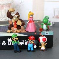 boneca goomba venda por atacado-Clássico Super Mario Bros Figura Brinquedos Com Chaveiro Mario Luigi Yoshi Pêssego Goomba King Kong PVC Bonecas