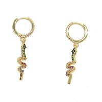 Wholesale hanging copper earrings online - 2019 New Fashion candy rainbow cz snake Earring for Women Ethnic Bohemian Long Hanging Dangle Earring sexy animal trendy Jewelry