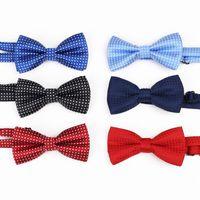 шейные галстуки оптовых-Детский галстук-бабочка Baby Boy Kid Аксессуары для одежды сплошной цвет рубашка джентльмен шеи галстук-бабочка Dot малыша регулируемый лук