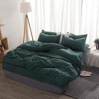 Wholesale coverlet bedding for sale - Group buy Denisroom Solid Color quilts and bedding sets Green Duvet Cover Double Bed Coverlet King Bed Sheets Set Of Linen XY57