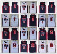 charles barkley basketball al por mayor-1992 Equipo de EE.UU. jerseys del baloncesto Patrick Ewing, Larry Bird Scottie Pippen Michael Charles Barkley Earvin Johnson Clyde Drexler cosido Jersey