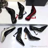 seksi metal elbiseleri toptan satış-Lüks Tasarımcı Kadın Topuklu Pompalar Patent Deri Elbise Düğün Ayakkabı Bayanlar seksi Yüksek topuklu ayakkabılar Ayak Bileği Kayışı Pompaları Metal topuk Kadın Ayakkabı