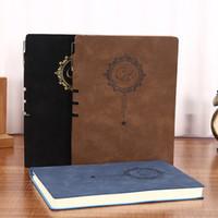 a5 lederne notizbücher großhandel-A5 Notebook benutzerdefinierte Notebook Leder-Cover mit gefütterten Seiten 100 Blatt mit Stifthalter Notebooks versandkostenfrei