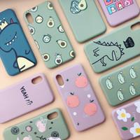 Wholesale peach iphone for sale – best Fashion Peach Avocado Fruit Soft TPU Phone Case For iPhone X XS Max XR S Plus Pro Max Cartoon Cute Dinosaur Cover Case