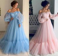 fee prom kleider großhandel-2019 Fairy Light Sky Blue Pink Abendkleider mit Poet Langarm Elegant Schulterfrei Falten Rüschen Lange Party Prom Kleider Arabisch