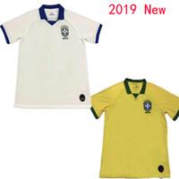 camiseta de fútbol blanca para hombre al por mayor-2019 Brasil casa amarilla lejos blanco Copa América COUTINHO Camiseta de fútbol para hombre JESUS FIRMINO MARCELO Uniforme de futebol camiseta de fútbol