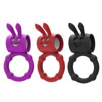 ingrosso vibratore maschio coniglio-amore vibratore del pene di lunga durata del coniglio nuovo mini anello maschio del sesso giocattoli del sesso che vibrano anello per la coppia