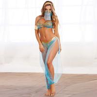 синие комплекты белья оптовых-Женское нижнее белье Сексуальный комплект нижнего белья Женщины видят сквозь синюю модную одежду с сеткой с боковыми разрезами и брюками Юбка оптом Стильный костюм для сцены