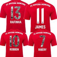 polices de maillot de football achat en gros de-Bayern 2020 Polices d'impression spéciales RIBERY ROBBEN RAFINHA Maillot 19 20 Bayern Munich Hone LEWANDOWSKI THIAGO Maillots de foot