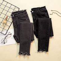 jeans feminino preto venda por atacado-JUJULAND Jeans Feminino Denim Calças Cor Preta Das Mulheres Jeans Donna Trecho Bottoms Feminino Skinny Calças Para As Mulheres Calças D18111301