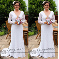 Wholesale fitted flare wedding dresses for sale - Group buy Sexy Backless Summer Holiday Boho Wedding Dresses Lace long sleeves Sheath Garden Beach Bohemian V neck fit and flare Bridal Wedding Gowns