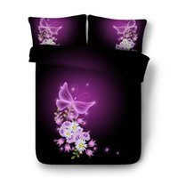 Wholesale purple flower comforter sets for sale - Purple coverlet Butterfly Pink Flower pc Duvet Cover Set With Zipper Closure Pillow Shams Galaxy Comforter Cover Animal bed cover