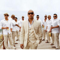 keten takım elbise ceketi erkekler toptan satış-Yeni Bej Keten Düğün Takım Elbise Plaj Damat Smokin 3 Parça (Ceket + Pantolon + Yelek) Damat Erkek Takım Elbise İyi Adam Blazer Custom Made