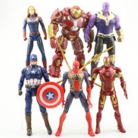 Wholesale style superhero toys resale online - 6 Style Avengers Captain Marvel Action Figures Doll toys New kids Cartoon Superhero Iron Man Thanos spiderman Figure Toy B