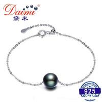 pérolas daimi venda por atacado-DAIMI Black Pearl pulseira 9-10mm Natural Pérola do Taiti com S925 Prata Corrente Pulseira Mulher Mão