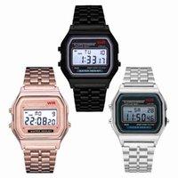 uhr mode farben großhandel-Multifunktions-WR F91W F-91W Art und Weise ultradünne Uhren Metallarmband LED ändern Uhr Sport A159W Männer Frauen Sportuhren Uhr 4 Farben