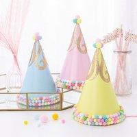 şapka saç süslemeleri toptan satış-1 adet Ponpon Şapka Koni Altın Glitter Kağıt Doğum Günü Partisi Şapka Bebek Duş Doğum Günü Partisi Noel Saç Dekorasyon Hediye Çocuklar için
