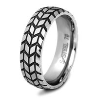 Wholesale american tire resale online - Band Rings Jewelry Punk Fashion High Quality European and American Style Geometric Tire Tread Gold Plated Stainless Steel Rings LR053