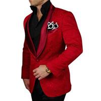esmoquin de boda rojo esmoquin al por mayor-Nuevo estilo Vino tinto Groomsmen Shawl Lapel Groom Tuxedos Hombres Trajes Boda Best Man Blazer (Chaqueta + Pantalones)