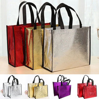 Wholesale leather laser bags resale online - Fashion Laser Shopping Bag Foldable Eco Bag Large Reusable Shopping Bags Tote Waterproof Fabric Non woven Bag No Zipper Hot Sale