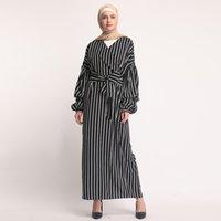 neue schwarze dubai abaya großhandel-2019 neue Ankunft Dubai Abaya für islamische Frauen, die Schwarzweiss-Streifenfrauen moslemisches Kleid kleiden