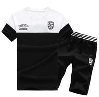 Wholesale fashion tshirt sport for sale - Mens Fashion Sports Tracksuits Designer Short Sleeve Tshirt Fifth Pants Clothing Sets Running Panelled Sportswear